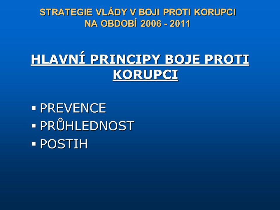 HLAVNÍ PRINCIPY BOJE PROTI KORUPCI  PREVENCE  PRŮHLEDNOST  POSTIH STRATEGIE VLÁDY V BOJI PROTI KORUPCI NA OBDOBÍ 2006 - 2011