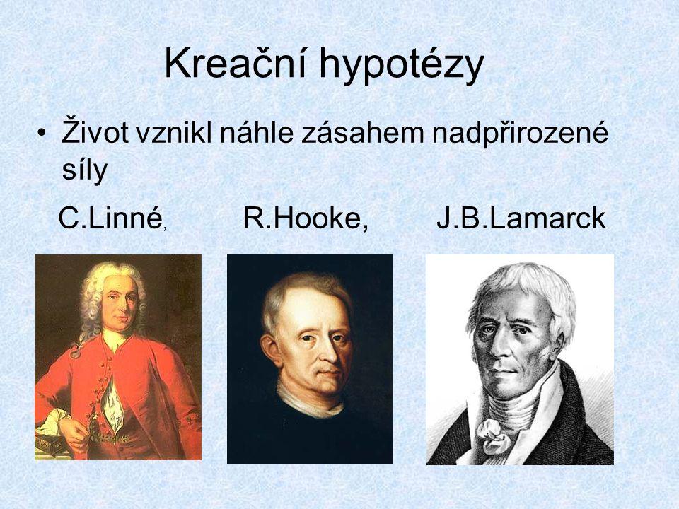 Kreační hypotézy Život vznikl náhle zásahem nadpřirozené síly R.Hooke, J.B.LamarckC.Linné,