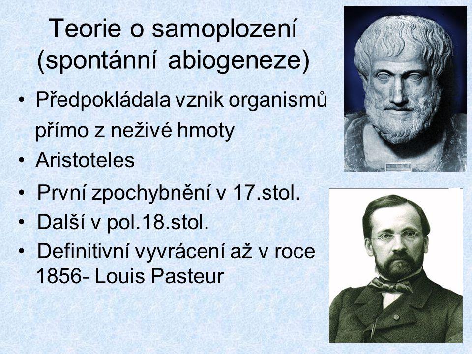 Teorie o samoplození (spontánní abiogeneze) Předpokládala vznik organismů přímo z neživé hmoty Aristoteles První zpochybnění v 17.stol. Další v pol.18