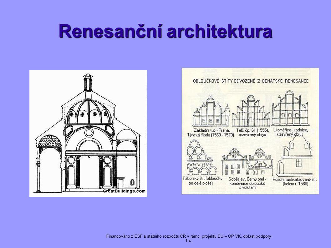 Renesanční architektura Financováno z ESF a státního rozpočtu ČR v rámci projektu EU – OP VK, oblast podpory 1.4.