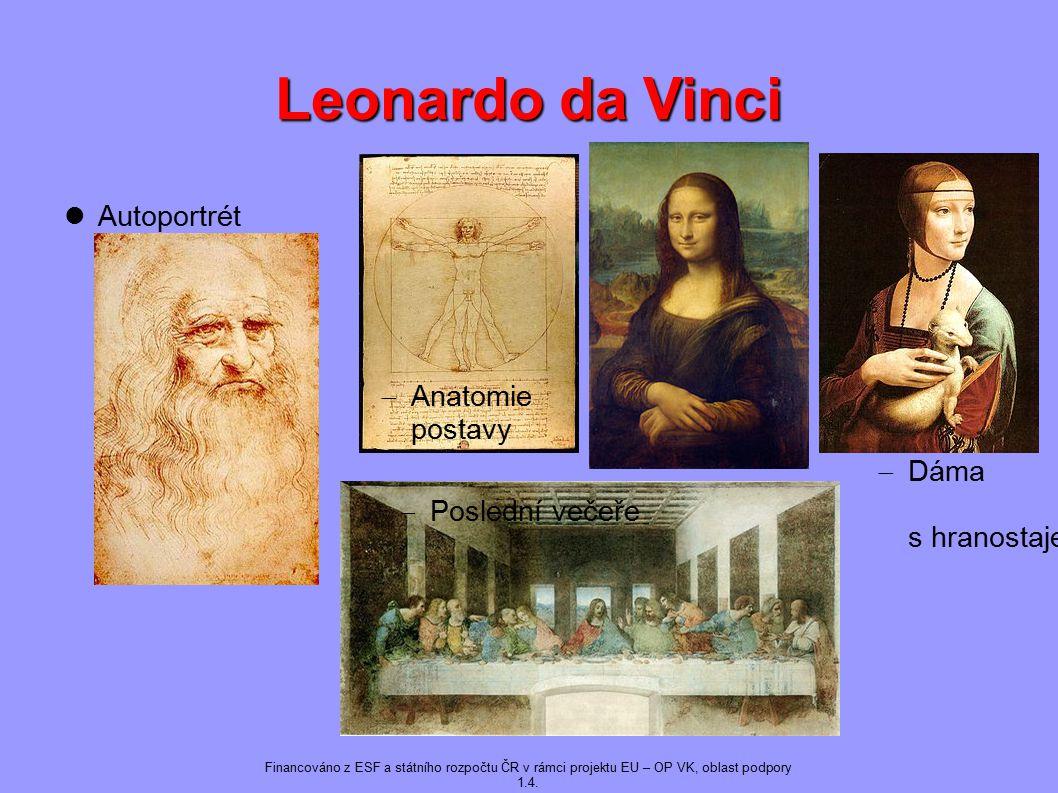Leonardo da Vinci Autoportrét  Poslední večeře  Anatomie postavy  Dáma s hranostajem Financováno z ESF a státního rozpočtu ČR v rámci projektu EU – OP VK, oblast podpory 1.4.