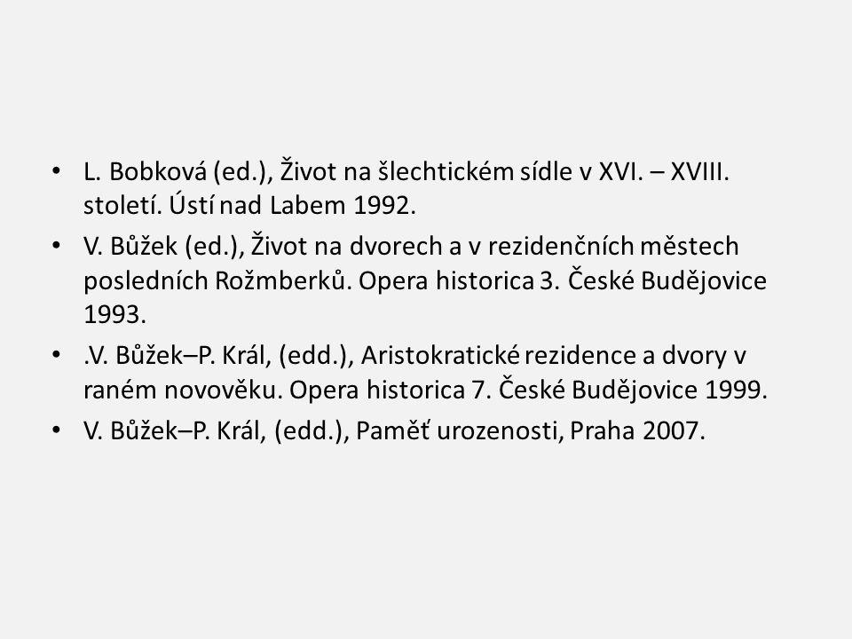 L. Bobková (ed.), Život na šlechtickém sídle v XVI. – XVIII. století. Ústí nad Labem 1992. V. Bůžek (ed.), Život na dvorech a v rezidenčních městech p