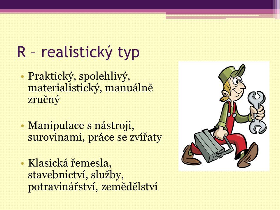 R – realistický typ Praktický, spolehlivý, materialistický, manuálně zručný Manipulace s nástroji, surovinami, práce se zvířaty Klasická řemesla, stav