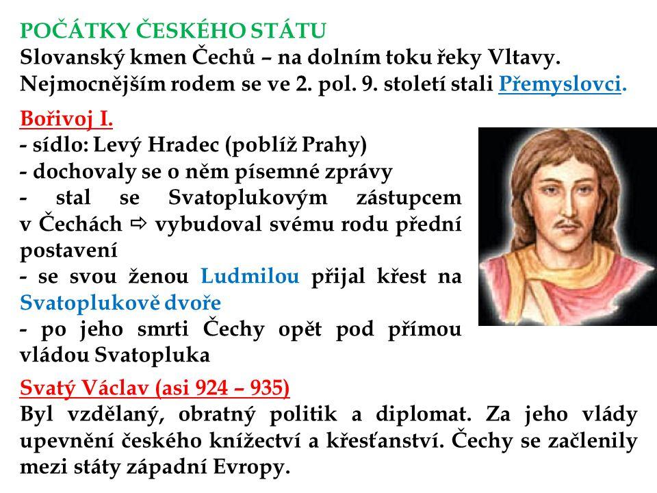 POČÁTKY ČESKÉHO STÁTU Slovanský kmen Čechů – na dolním toku řeky Vltavy.