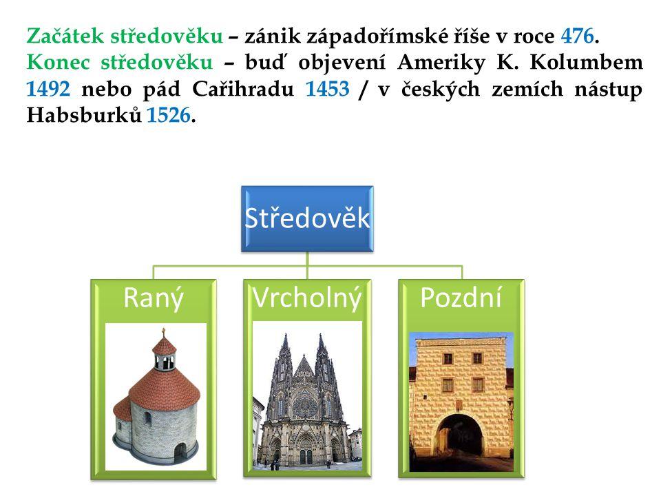 Středověk RanýVrcholnýPozdní Začátek středověku – zánik západořímské říše v roce 476.
