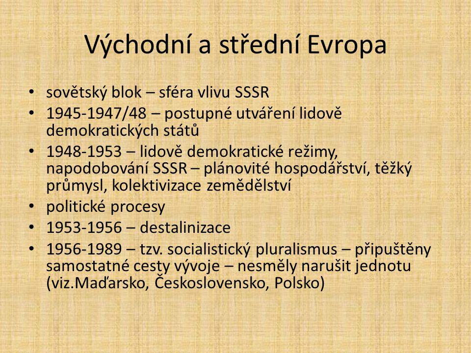 Východní a střední Evropa sovětský blok – sféra vlivu SSSR 1945-1947/48 – postupné utváření lidově demokratických států 1948-1953 – lidově demokratick