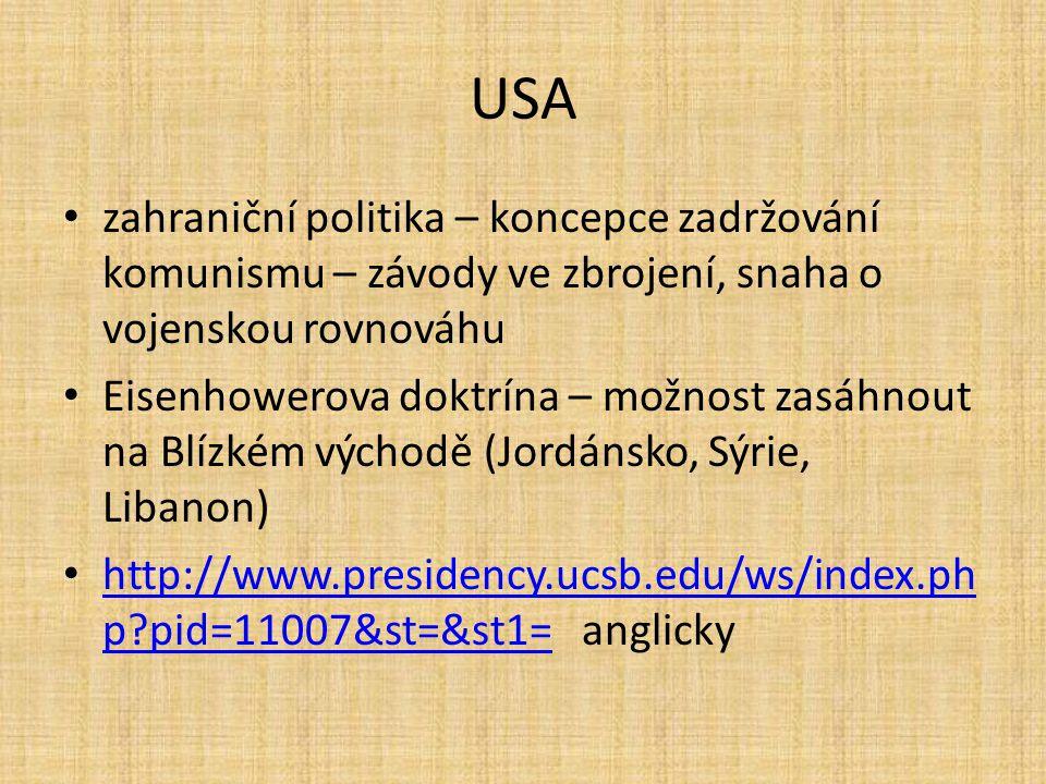 """USA jednání s SSSR – překonáno nejhorší období studené války 1960 – Chruščov v USA 1961-1963 John Fitzgerald Kennedy – zahájen sociální program, proti segregaci, hospodářská spolupráce s Evropou a Asií říjen 1962 – karibská krize (pokus o rozmístění jaderných zbraní na Kubě) – nebezpečí konfliktu – jednání, """"horká linka USA-SSSR berlínská krize – 1961 – stavba berlínské zdi počátek války ve Vietnamu"""