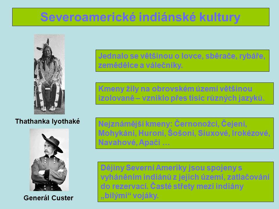 Severoamerické indiánské kultury Jednalo se většinou o lovce, sběrače, rybáře, zemědělce a válečníky.