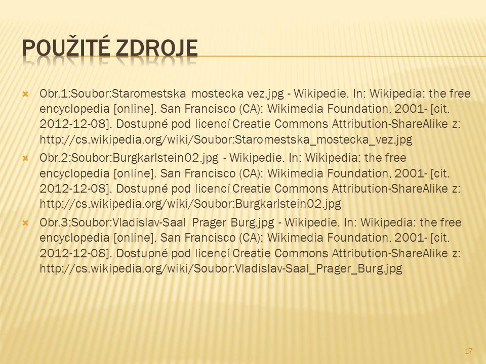  Obr.1:Soubor:Staromestska mostecka vez.jpg - Wikipedie.