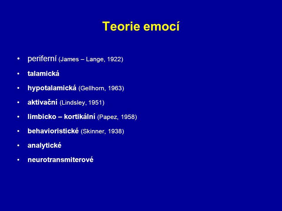 Teorie emocí periferní (James – Lange, 1922) talamická hypotalamická (Gellhorn, 1963) aktivační (Lindsley, 1951) limbicko – kortikální (Papez, 1958) b