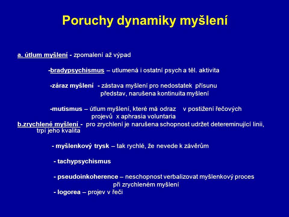 Poruchy dynamiky myšlení a. útlum myšlení - zpomalení až výpad -bradypsychismus – utlumená i ostatní psych a těl. aktivita -záraz myšlení - zástava my
