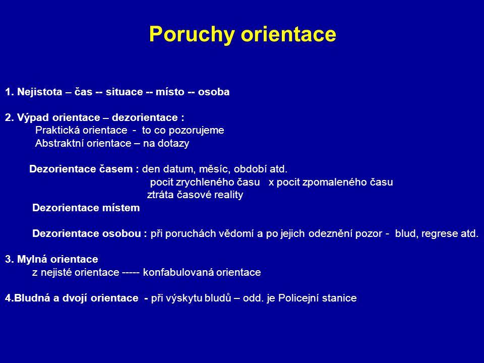 Poruchy orientace 1. Nejistota – čas -- situace -- místo -- osoba 2. Výpad orientace – dezorientace : Praktická orientace - to co pozorujeme Abstraktn