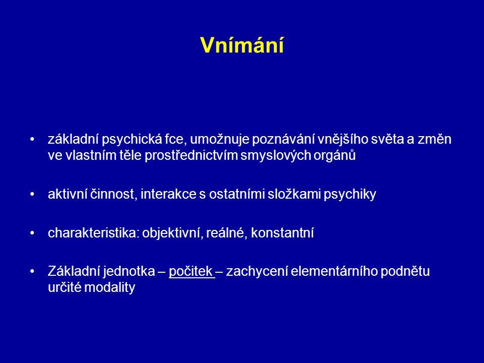 Vnímání základní psychická fce, umožnuje poznávání vnějšího světa a změn ve vlastním těle prostřednictvím smyslových orgánů aktivní činnost, interakce