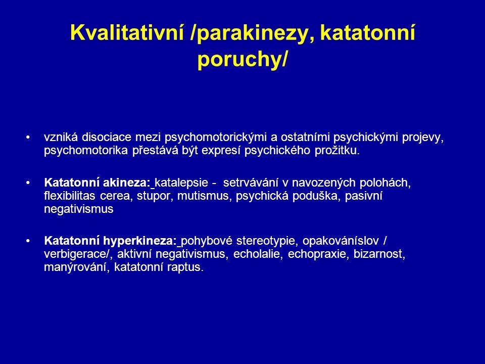 Kvalitativní /parakinezy, katatonní poruchy/ vzniká disociace mezi psychomotorickými a ostatními psychickými projevy, psychomotorika přestává být expr