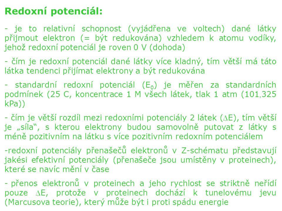 Redoxní potenciál: - je to relativní schopnost (vyjádřena ve voltech) dané látky přijmout elektron (= být redukována) vzhledem k atomu vodíky, jehož r