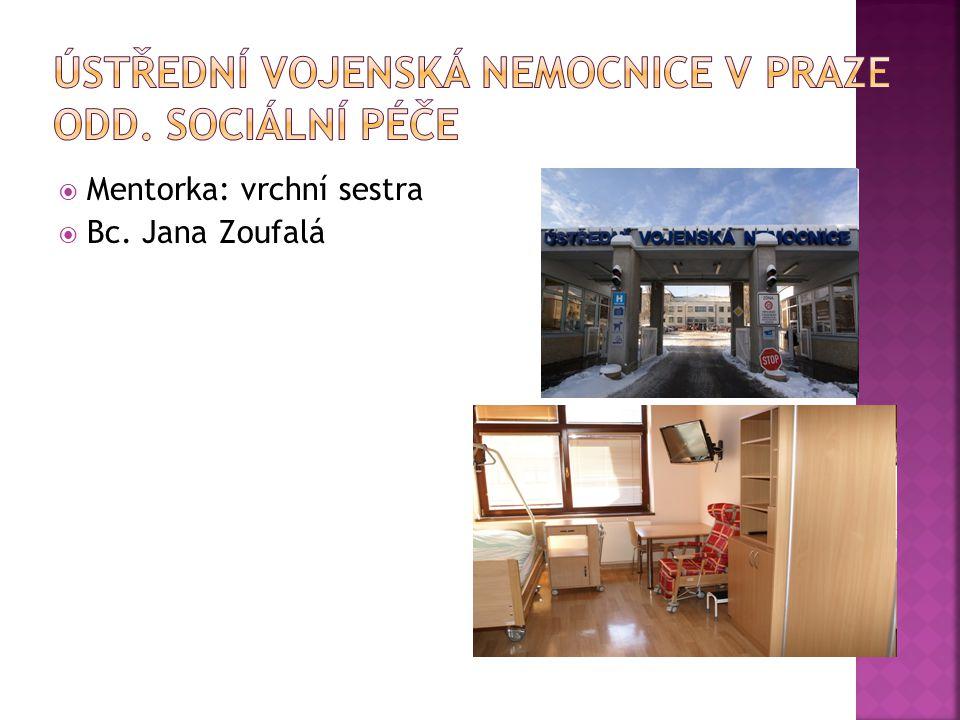  Mentorka: vrchní sestra  Bc. Jana Zoufalá