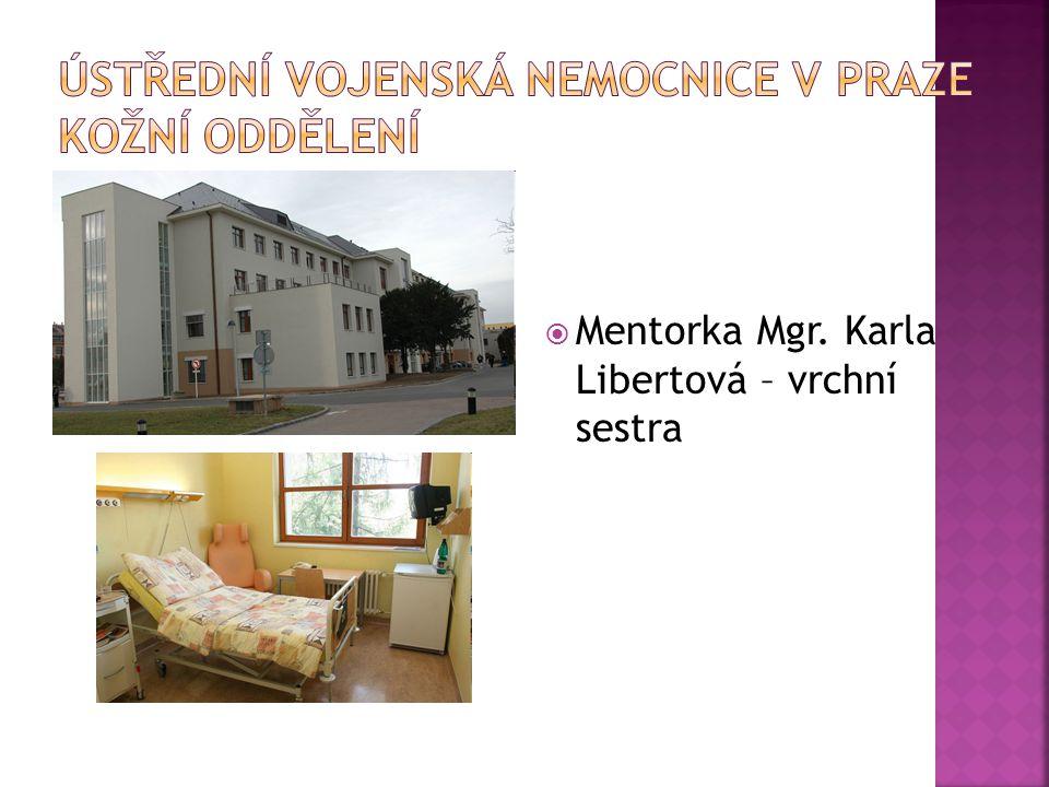  Mentorka Mgr. Karla Libertová – vrchní sestra
