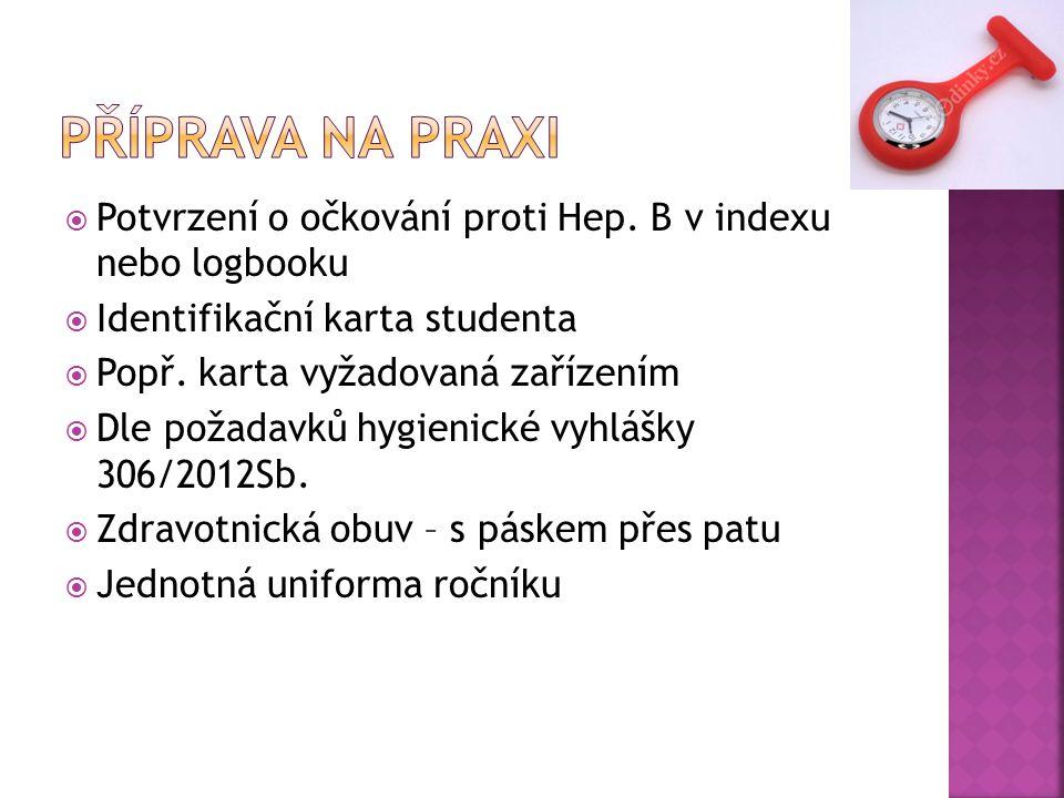  Potvrzení o očkování proti Hep.B v indexu nebo logbooku  Identifikační karta studenta  Popř.