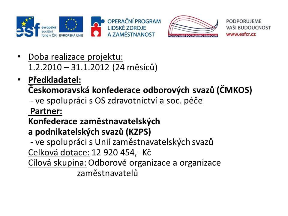 Doba realizace projektu: 1.2.2010 – 31.1.2012 (24 měsíců) Předkladatel: Českomoravská konfederace odborových svazů (ČMKOS) - ve spolupráci s OS zdravotnictví a soc.