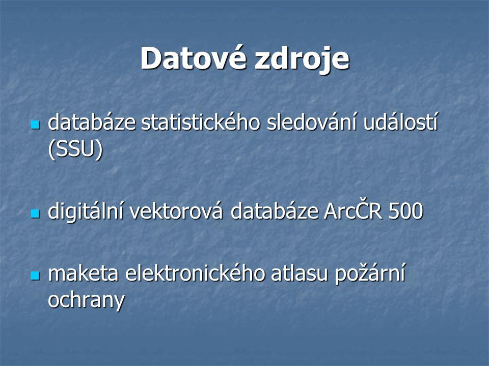 Datové zdroje databáze statistického sledování událostí (SSU) databáze statistického sledování událostí (SSU) digitální vektorová databáze ArcČR 500 digitální vektorová databáze ArcČR 500 maketa elektronického atlasu požární ochrany maketa elektronického atlasu požární ochrany