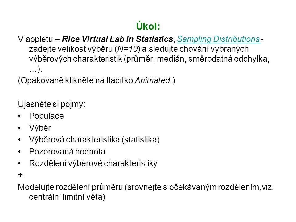 Úkol: V appletu – Rice Virtual Lab in Statistics, Sampling Distributions - zadejte velikost výběru (N=10) a sledujte chování vybraných výběrových charakteristik (průměr, medián, směrodatná odchylka, …).Sampling Distributions (Opakovaně klikněte na tlačítko Animated.) Ujasněte si pojmy: Populace Výběr Výběrová charakteristika (statistika) Pozorovaná hodnota Rozdělení výběrové charakteristiky + Modelujte rozdělení průměru (srovnejte s očekávaným rozdělením,viz.