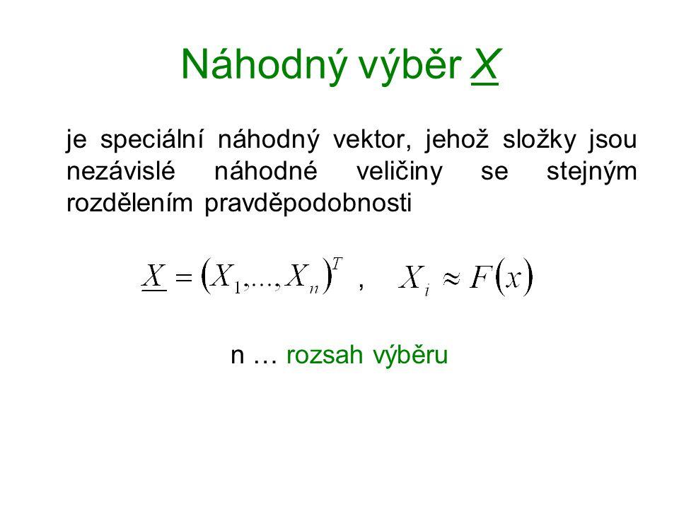 Náhodný výběr X je speciální náhodný vektor, jehož složky jsou nezávislé náhodné veličiny se stejným rozdělením pravděpodobnosti, n … rozsah výběru