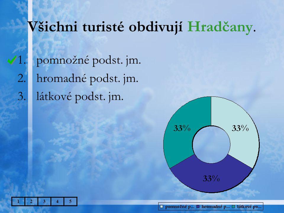 Všichni turisté obdivují Hradčany. 12345 1.pomnožné podst.