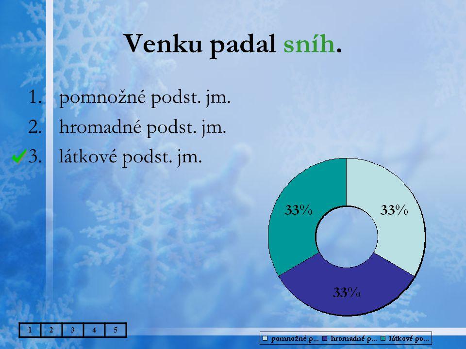 Venku padal sníh. 12345 1.pomnožné podst. jm. 2.hromadné podst. jm. 3.látkové podst. jm.
