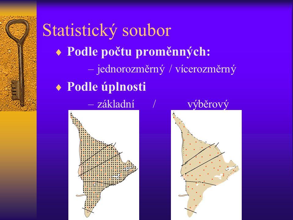 Statistický soubor  Podle počtu proměnných: –jednorozměrný / vícerozměrný  Podle úplnosti –základní / výběrový
