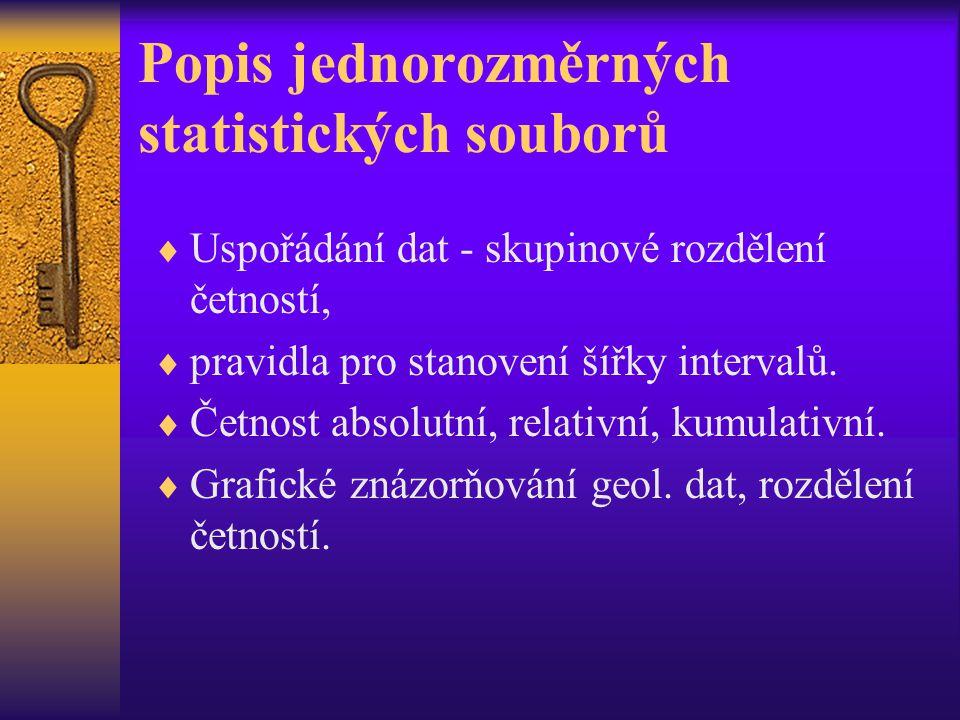Popis jednorozměrných statistických souborů  Uspořádání dat - skupinové rozdělení četností,  pravidla pro stanovení šířky intervalů.