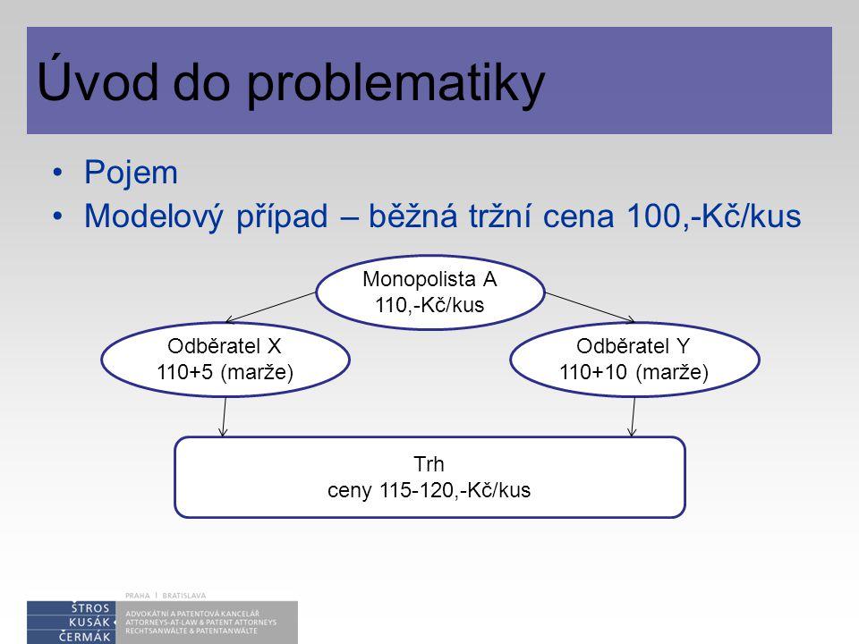Úvod do problematiky Pojem Modelový případ – běžná tržní cena 100,-Kč/kus Monopolista A 110,-Kč/kus Odběratel X 110+5 (marže) Odběratel Y 110+10 (marže) Trh ceny 115-120,-Kč/kus