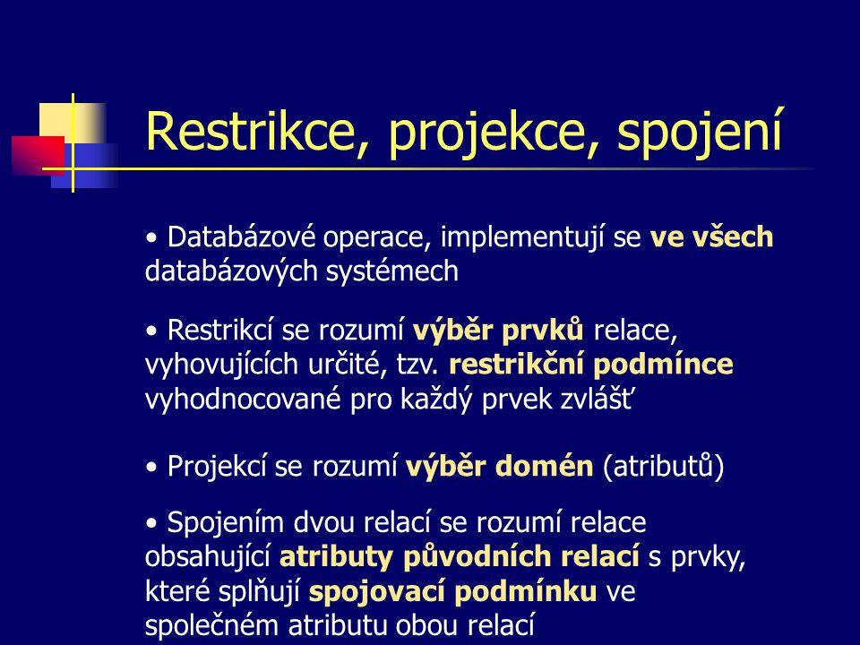 Restrikce, projekce, spojení Databázové operace, implementují se ve všech databázových systémech Restrikcí se rozumí výběr prvků relace, vyhovujících určité, tzv.