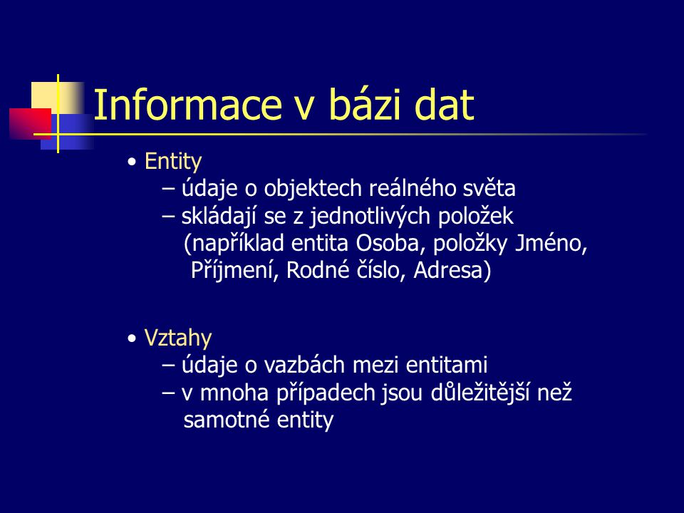 Informace v bázi dat Entity – údaje o objektech reálného světa – skládají se z jednotlivých položek (například entita Osoba, položky Jméno, Příjmení, Rodné číslo, Adresa) Vztahy – údaje o vazbách mezi entitami – v mnoha případech jsou důležitější než samotné entity