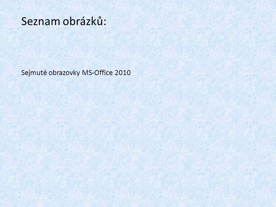 Sejmuté obrazovky MS-Office 2010 Seznam obrázků: