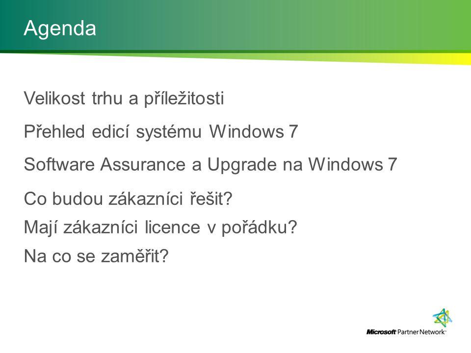 Agenda Velikost trhu a příležitosti Přehled edicí systému Windows 7 Software Assurance a Upgrade na Windows 7 Co budou zákazníci řešit.