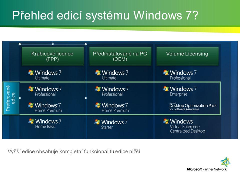 Přehled edicí systému Windows 7 Vyšší edice obsahuje kompletní funkcionalitu edice nižší