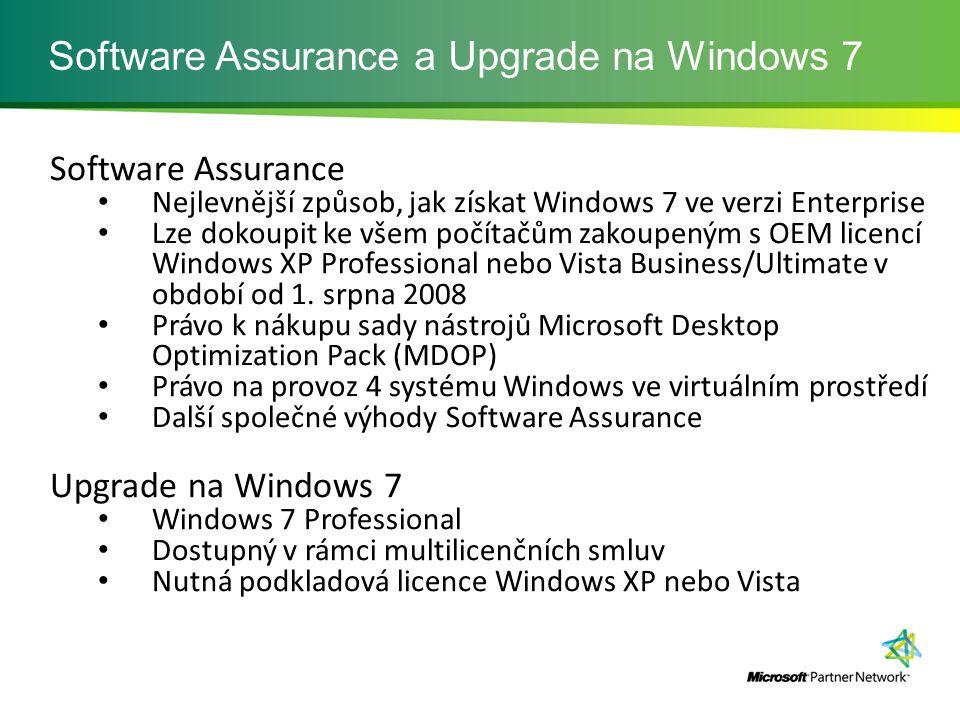 Software Assurance a Upgrade na Windows 7 Software Assurance Nejlevnější způsob, jak získat Windows 7 ve verzi Enterprise Lze dokoupit ke všem počítačům zakoupeným s OEM licencí Windows XP Professional nebo Vista Business/Ultimate v období od 1.