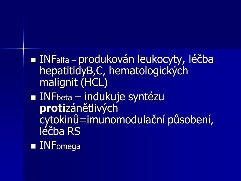 INF alfa – produkován leukocyty, léčba hepatitidyB,C, hematologických malignit (HCL) INF alfa – produkován leukocyty, léčba hepatitidyB,C, hematologic