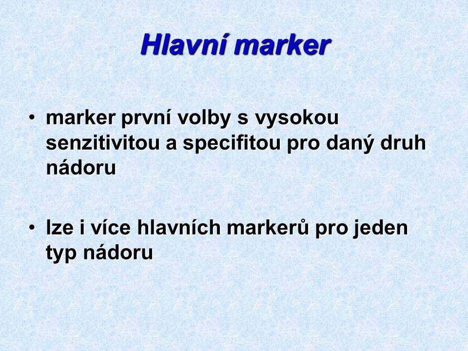 Hlavní marker marker první volby s vysokou senzitivitou a specifitou pro daný druh nádorumarker první volby s vysokou senzitivitou a specifitou pro da