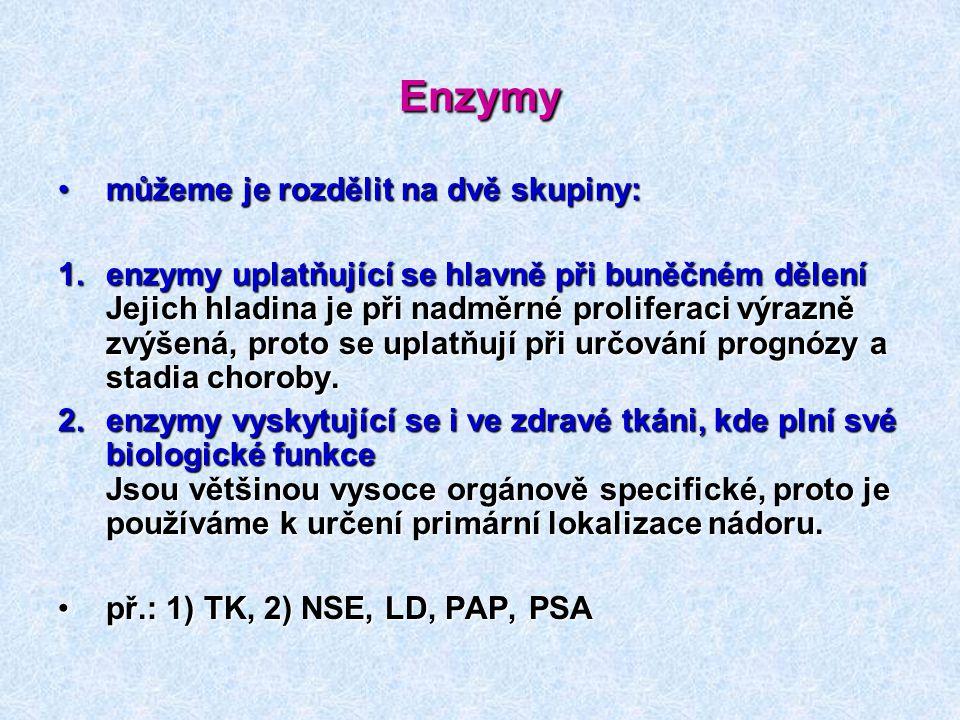 Enzymy můžeme je rozdělit na dvě skupiny:můžeme je rozdělit na dvě skupiny: 1.enzymy uplatňující se hlavně při buněčném dělení Jejich hladina je při n