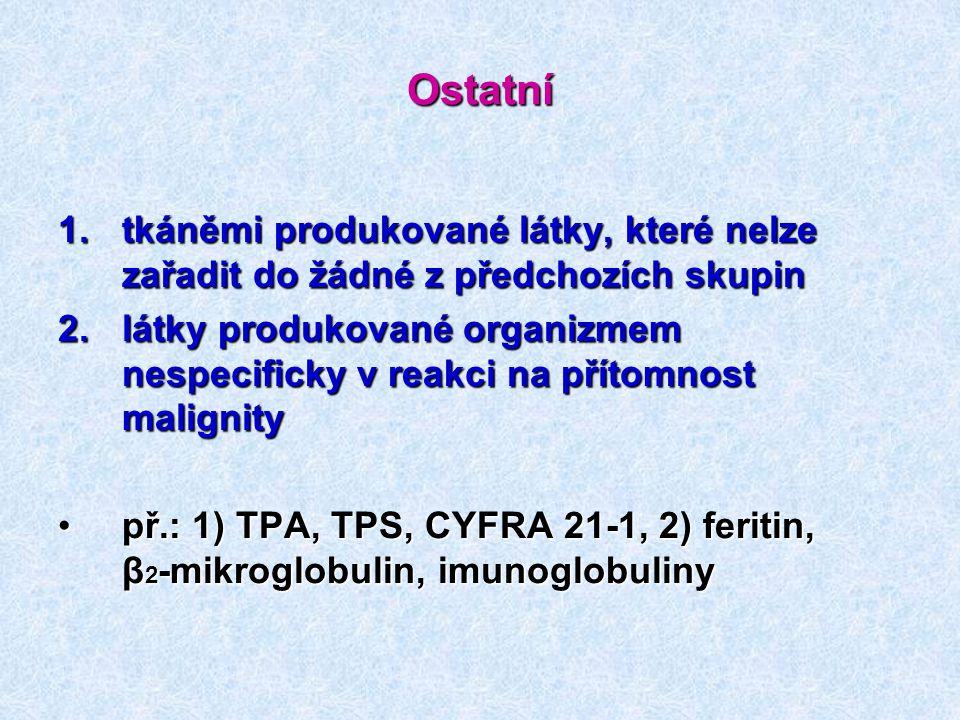 Ostatní 1.tkáněmi produkované látky, které nelze zařadit do žádné z předchozích skupin 2.látky produkované organizmem nespecificky v reakci na přítomn