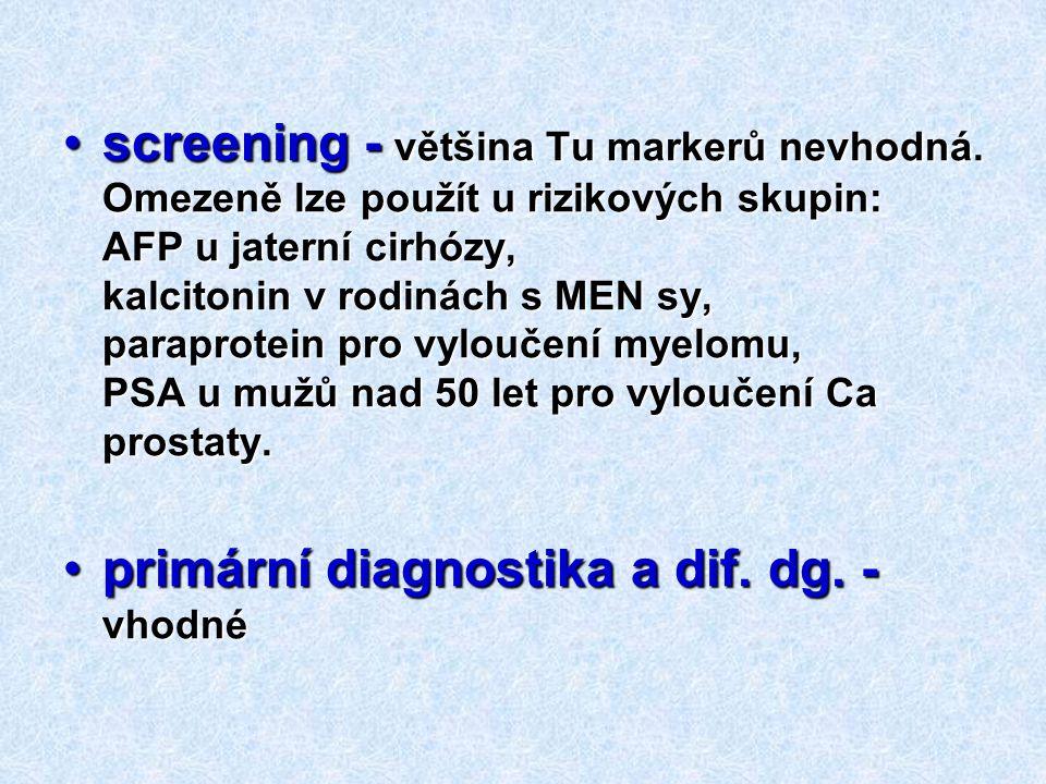 screening - většina Tu markerů nevhodná. Omezeně lze použít u rizikových skupin: AFP u jaterní cirhózy, kalcitonin v rodinách s MEN sy, paraprotein pr