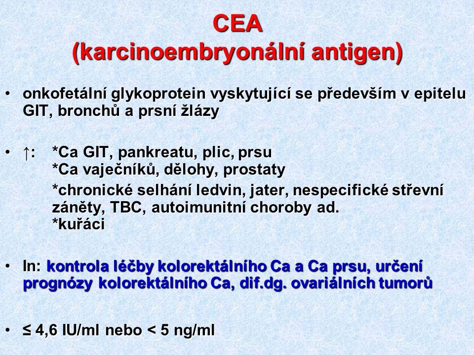 CEA (karcinoembryonální antigen) onkofetální glykoprotein vyskytující se především v epitelu GIT, bronchů a prsní žlázyonkofetální glykoprotein vyskyt