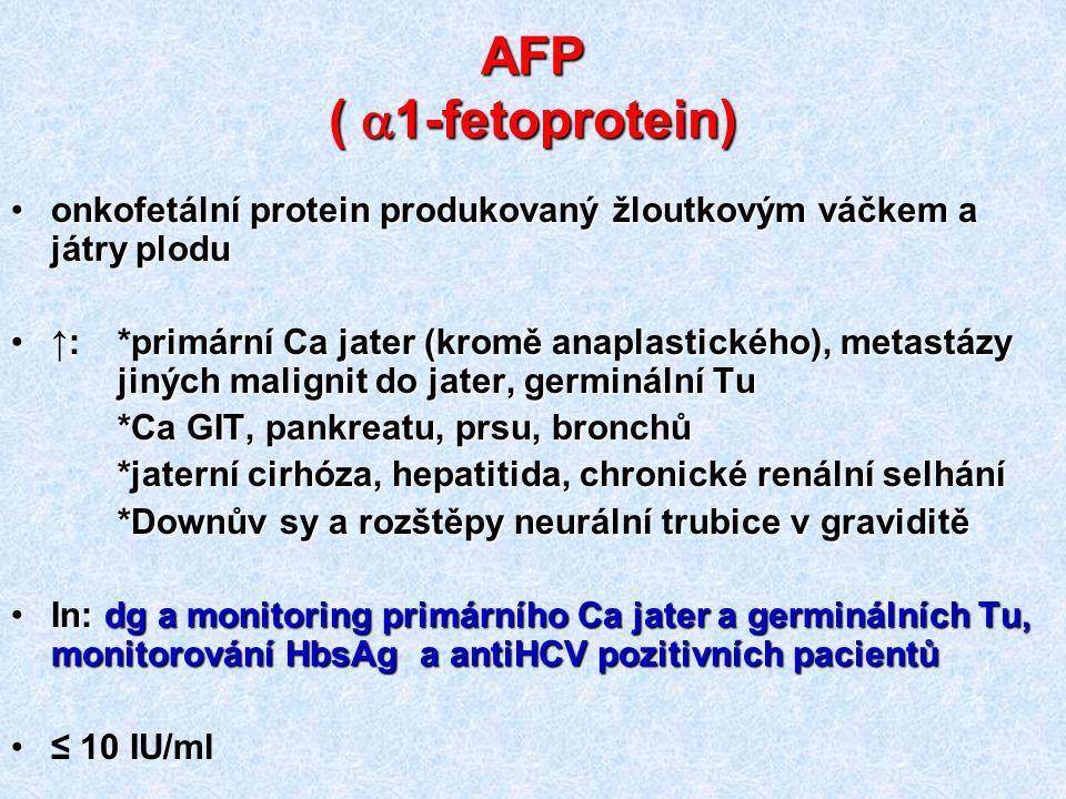 AFP (  1-fetoprotein) onkofetální protein produkovaný žloutkovým váčkem a játry ploduonkofetální protein produkovaný žloutkovým váčkem a játry plodu