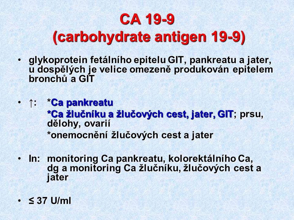 CA 19-9 (carbohydrate antigen 19-9) glykoprotein fetálního epitelu GIT, pankreatu a jater, u dospělých je velice omezeně produkován epitelem bronchů a