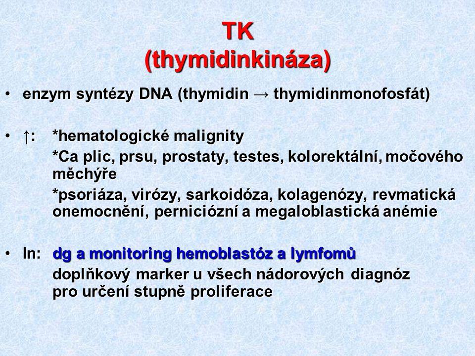 TK (thymidinkináza) enzym syntézy DNA (thymidin → thymidinmonofosfát)enzym syntézy DNA (thymidin → thymidinmonofosfát) ↑: *hematologické malignity↑: *