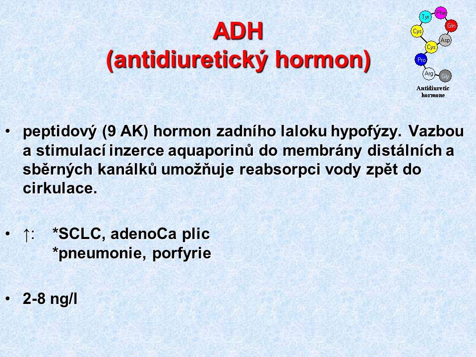ADH (antidiuretický hormon) peptidový (9 AK) hormon zadního laloku hypofýzy. Vazbou a stimulací inzerce aquaporinů do membrány distálních a sběrných k