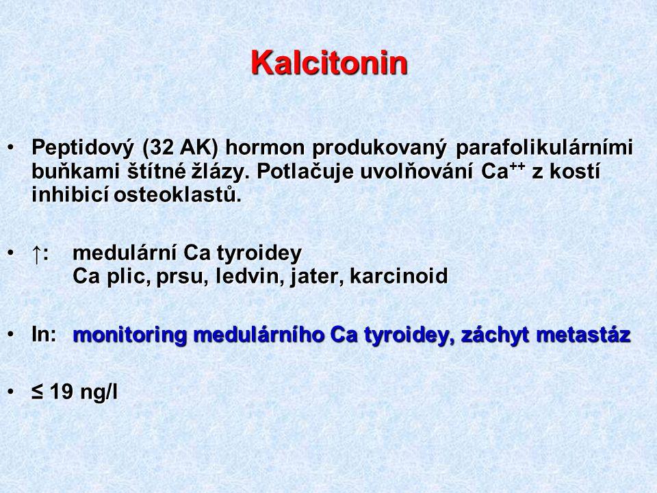 Kalcitonin Peptidový (32 AK) hormon produkovaný parafolikulárními buňkami štítné žlázy. Potlačuje uvolňování Ca ++ z kostí inhibicí osteoklastů.Peptid