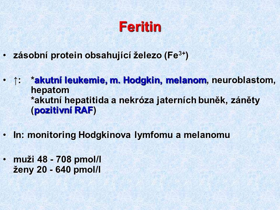 Feritin zásobní protein obsahující železo (Fe 3+ )zásobní protein obsahující železo (Fe 3+ ) ↑: *akutní leukemie, m. Hodgkin, melanom, neuroblastom, h