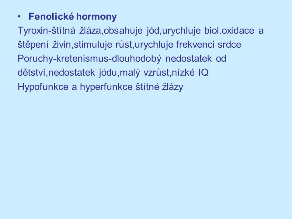 Fenolické hormony Tyroxin-štítná žláza,obsahuje jód,urychluje biol.oxidace a štěpení živin,stimuluje růst,urychluje frekvenci srdce Poruchy-kretenismu